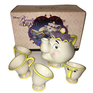 Vintage-Disney-Store-BEAUTY-AND-THE-BEAST-Toy-China-Tea-Set-Mrs-Potts-Chip-MIB