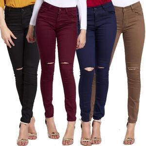 Fashion Ladies Womens Sexy Ripped Knee Skinny Jeans Stretch Denim Pants Girls Si Ebay