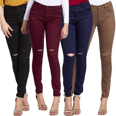 Fashion Ladies Womens Sexy Ripped Knee Skinny Jeans Stretch Denim Pants Girls Si