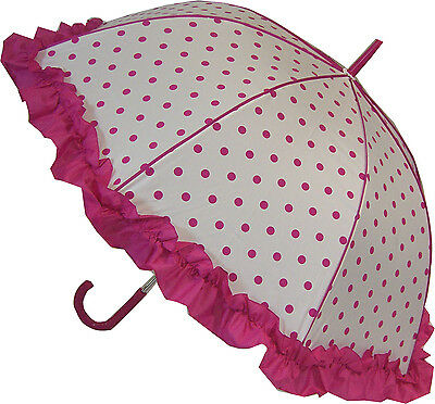 Blooming Brollies Boutique Polka Dot with Frill Stick Umbrella - Pink