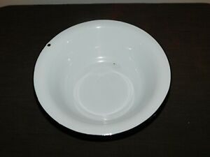 "VINTAGE KITCHEN 12' WIDE 3 1/2"" HIGH WHITE PORCELAIN BOWL"