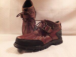 Ralph-Lauren-Polo-Men-039-s-Boots-Dover-III-Blk-amp-Brn-Size-8D-Rugged-Duck-Boots-Nice