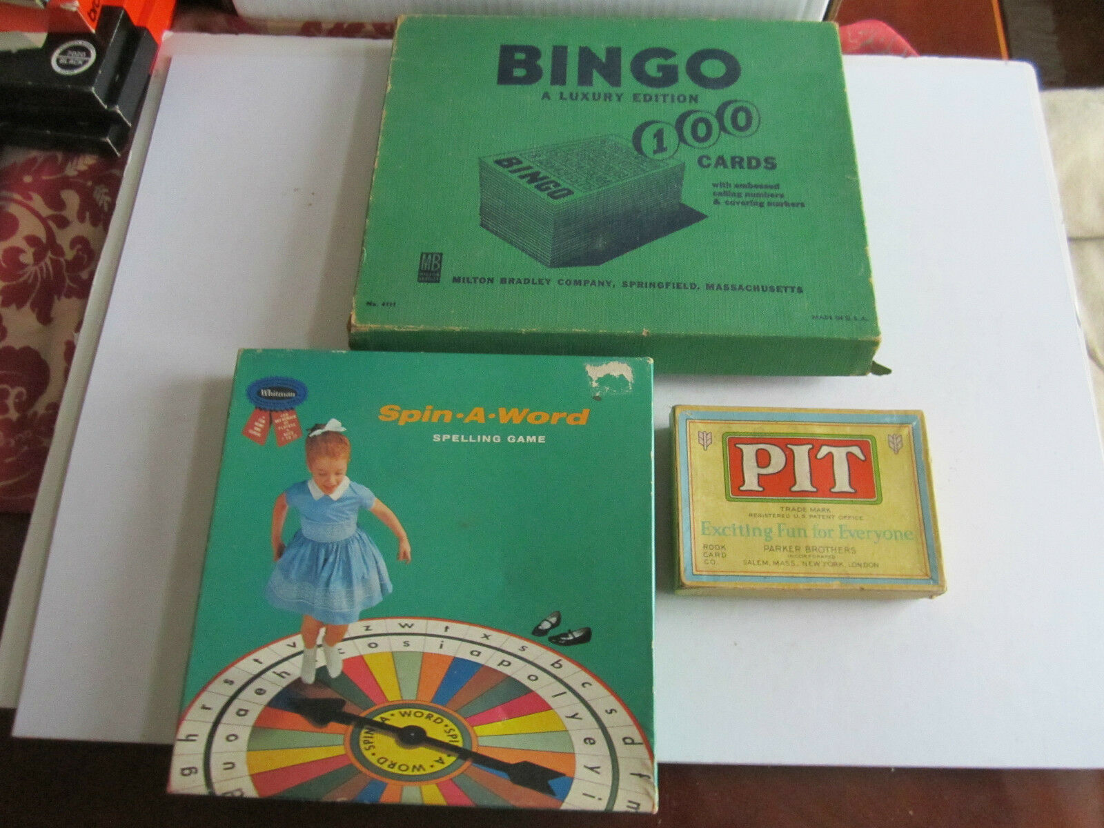 3 VTG TOY GAMES - BINGO - LUXURY EDITION - SPIN A WORD SPELLING GAME & PIT