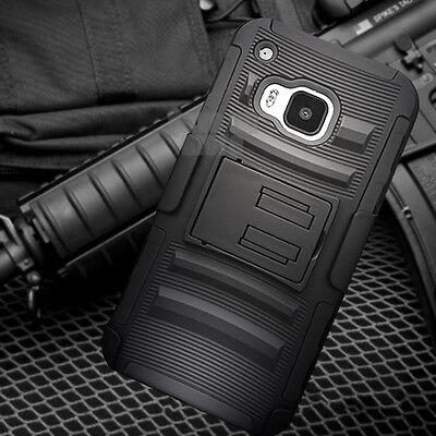 For HTC One M9 Black Defender Hard Case Cover Holster Belt Clip Kickstand & Film
