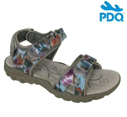 Ladies TOUCH Fastening Walking SPORTS Sandals Grey Multi Floral Size 3 4 5 6 7 8