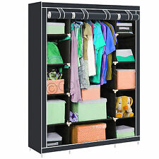 Triple Fabric Canvas Wardrobe Shelves With Hanging Rail Clothes Storage Cupboard