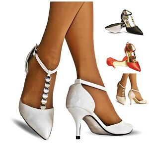 New-Womens-Ankle-Strap-Party-Bridal-Evening-Low-Mid-Heel-Court-Shoes-Size-2455