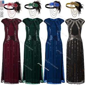 1920s-Flapper-Dress-Gatsby-Formal-Evening-Cocktail-Maxi-Dress-Gown-Plus-Size