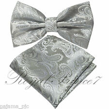 Silver Gray Paisley Pre-tied Butterfly Design Bowtie and Pocket Square Hanky Set