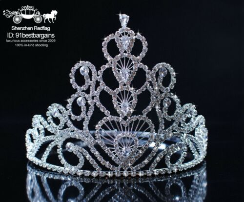 """Heart Wedding Tiaras 5.75/"""" Crowns Clear Rhinestones Beauty Pageant Prom Party"""