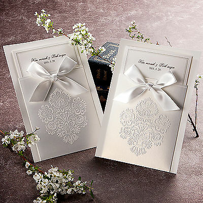 100 Luxurious White Ribbon invitations/Wedding invitations and envelopes set.