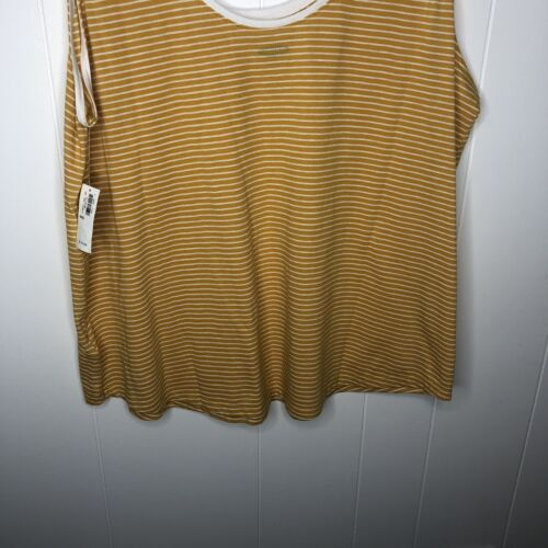 Old Navy Women/'s Striped Scoop Neck Top Size XXL Gold White Sleeveless Soft NWT