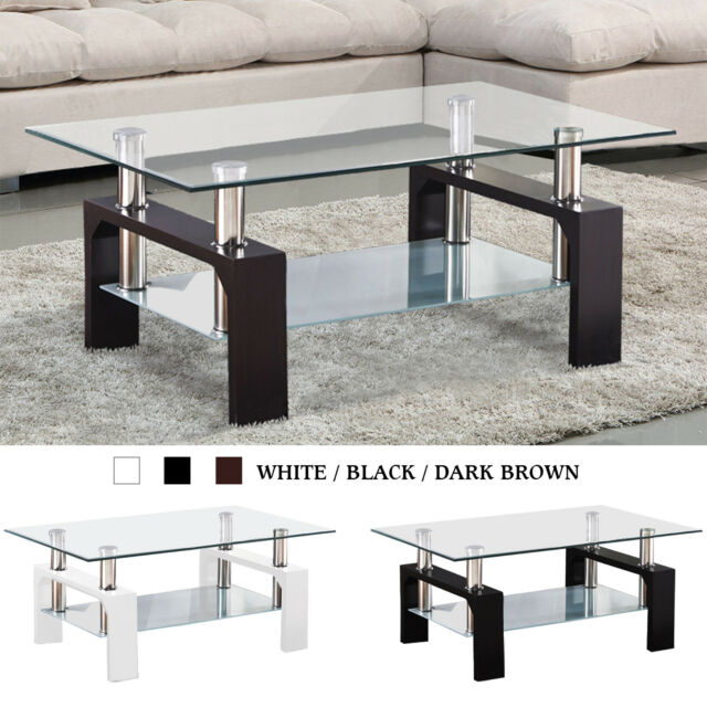 Modern Glass Chrome Coffee Table End Side Table w/ Shelves Living Room  Furniture