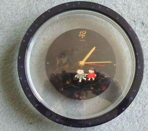 Tochigi-Tokei-Japan-Quartz-Battery-Round-Decorated-clear-plastic-Clock-247mm-dia