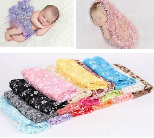 Baby Girl Boy Newborn Lace Flower Wrapped Blanket Photography Props Scarves Wrap