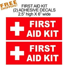 First Aid Kit Sticker 2-pieces Red Decal Self Adhesive Vinyl medical rescue