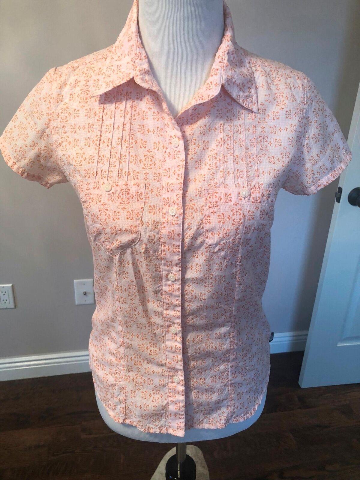 NWOT THE NORTH FACE Peach Fleur de Lis Fitted Shirt Blouse SZ S P