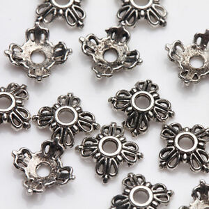 100Pcs-Tibet-Silver-Flower-Spacer-Bead-Caps-Jewelry-Making-DIY-Acces-6x2mm