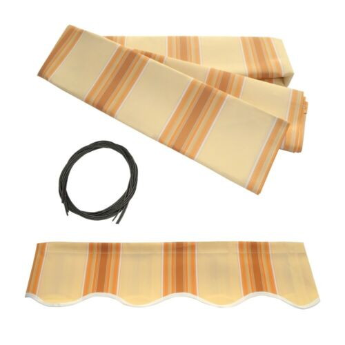 ALEKO Fabric Replacement For 16x10 Ft Retractable Awning Multistripe Yellow