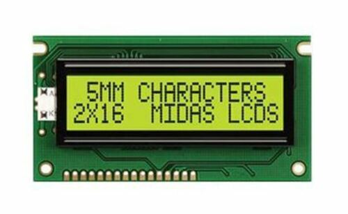 2 Rows by 16 Midas MC21605A6WD-SPTLY-V2 A Alphanumeric LCD Display Yellow-Green