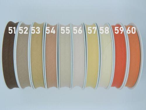 25 m Schrägband Baumwolle 20 mm gefalzt Einfassband Farben wählbar 0,56 €//m