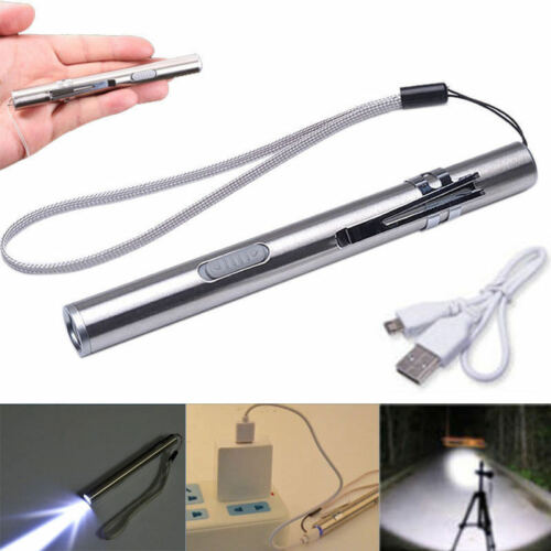 3x 8000Lumens Pocket Tactical Flashlight Torch LED Pen T6 USB Rechargeable Light