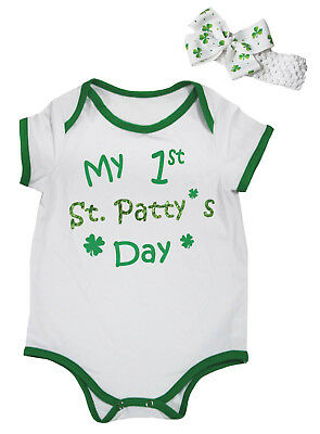 My 1st St.patty's Day Green White Baby Romper Bodysuit Jumpsuit Set Nb-18m Evident Effect Girls' Clothing (newborn-5t) One-pieces