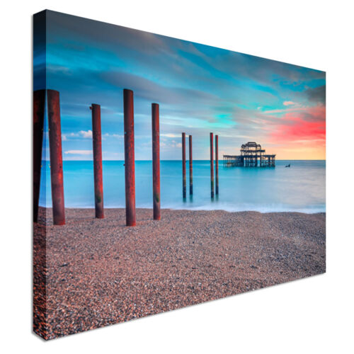 Derelict West Pier Brighton Sunset Canvas Wall Art prints high quality