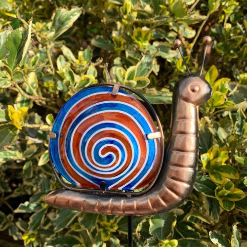 VETRO Blu Lumaca da Giardino Prato decorativa in metallo gioco Ornamento Scultura