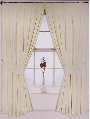 """New Faux Cream Ivory Pencil Pleat Curtains  90/"""" x 90/"""" Ready Made Tie Backs"""