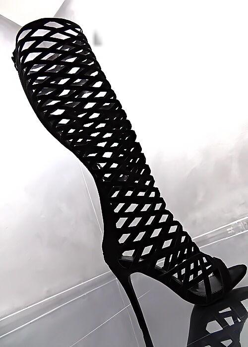 Hohe Lang Stiefel 1 cm Plateau Damen Luxus Stiefel N74 Schuhe High Heels 35     Schön und charmant