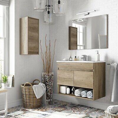 Mueble de baño, módulo para lavabo, 2 puertas con espejo Nordik, Cotton