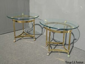 Pair-Vintage-French-Provincial-Brass-End-Tables-One-Round-Other-is-Oval-AS-IS