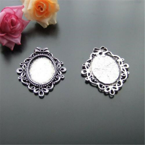 4pcs//lot Vintage Silver Alloy Cameo Tray Base 33x24mm Pendant Charms Accessories