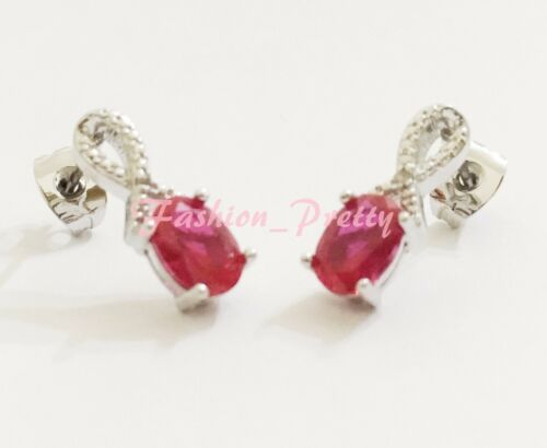 SUPER PRETTY 1 1//2 CARAT RUBY STUD EARRINGS HOT GIFT /& NEW ARRIVED !