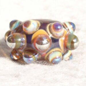 GLITZ-Handmade-Art-Glass-Focal-Bead-Flaming-Fools-Lampwork-Art-Glass-SRA