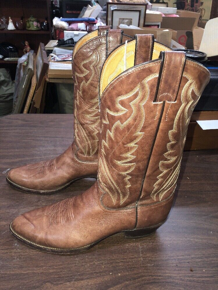 Men's Justin Chocolate Glazed Cowhide Boot Size 10 1 2 Cowboy
