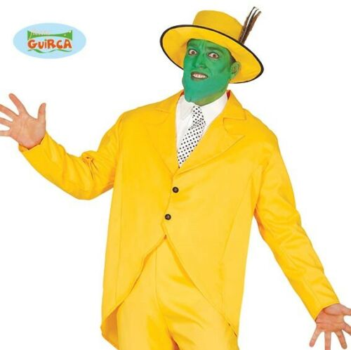 Mens Yellow Gangster Fancy Dress Costume 1990s the mask type Outfit Suit New fg