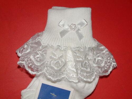 Filles blanc dentelle froncée chaussettes taille beaucoup de tailles nœud blanc