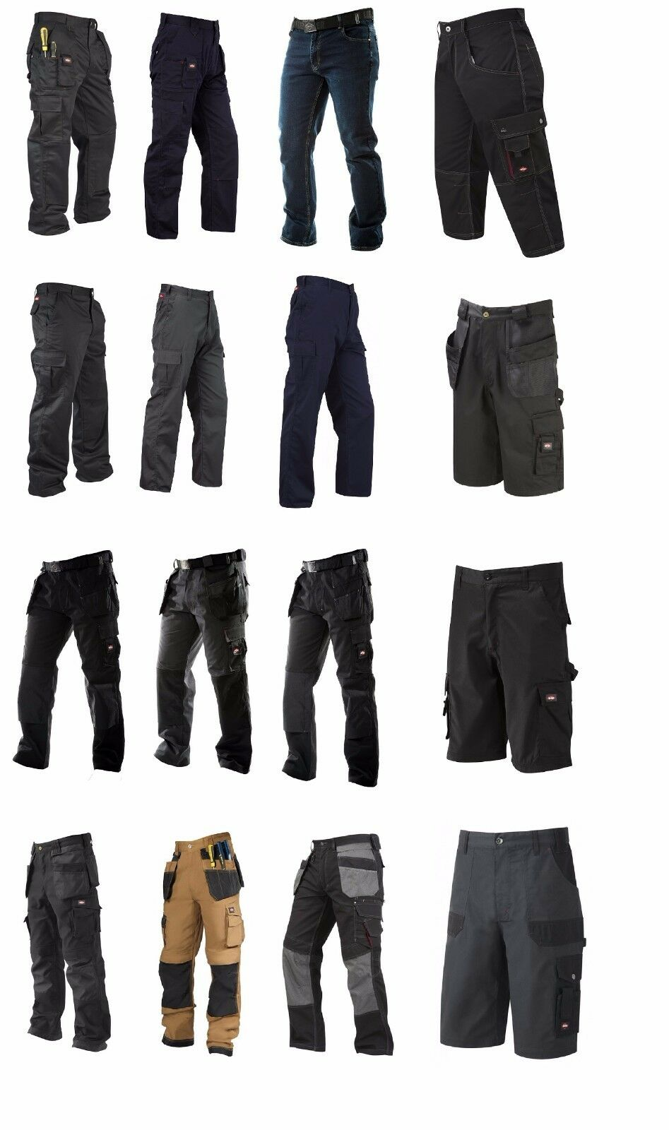 Lee Cooper Workwear Trousers 3 4 Pants & Shorts Jeans Cargo Combat Trousers New