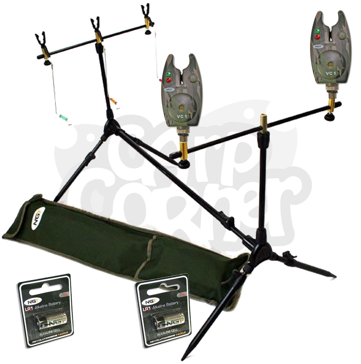 Karpfenangeln Multi Angelrute Pod mit Swinger Indicateurs 2 Camo Bissanzeiger