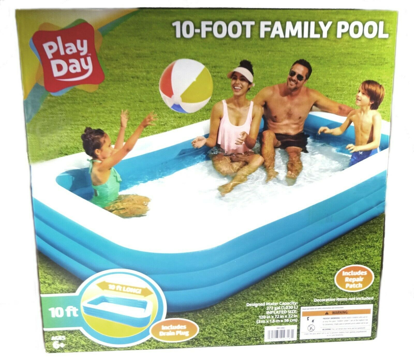 Play Day Inflatable Family Pool, 10 Foot