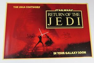 Mark-Hamill-amp-Dave-Prowse-STAR-WARS-RETURN-OF-JEDI-Signed-Autograph-Poster-BAS