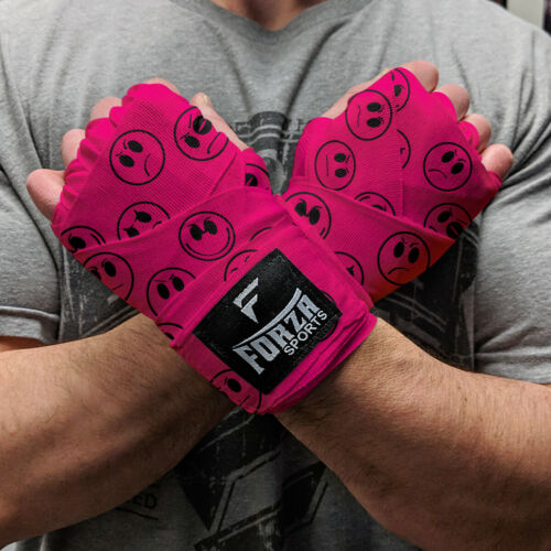"""Forza Sports 180/"""" Mexican Style Boxing and MMA Handwraps Smileys Hot Pink"""
