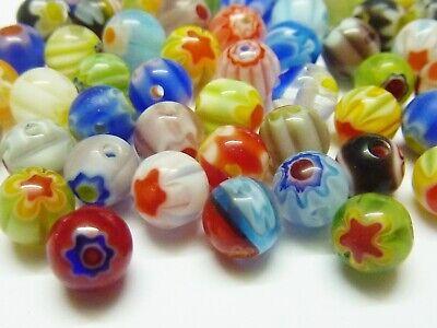 80 pce Colour Mix Round Drawbench Glass Beads 10mm Jewellery Making Craft