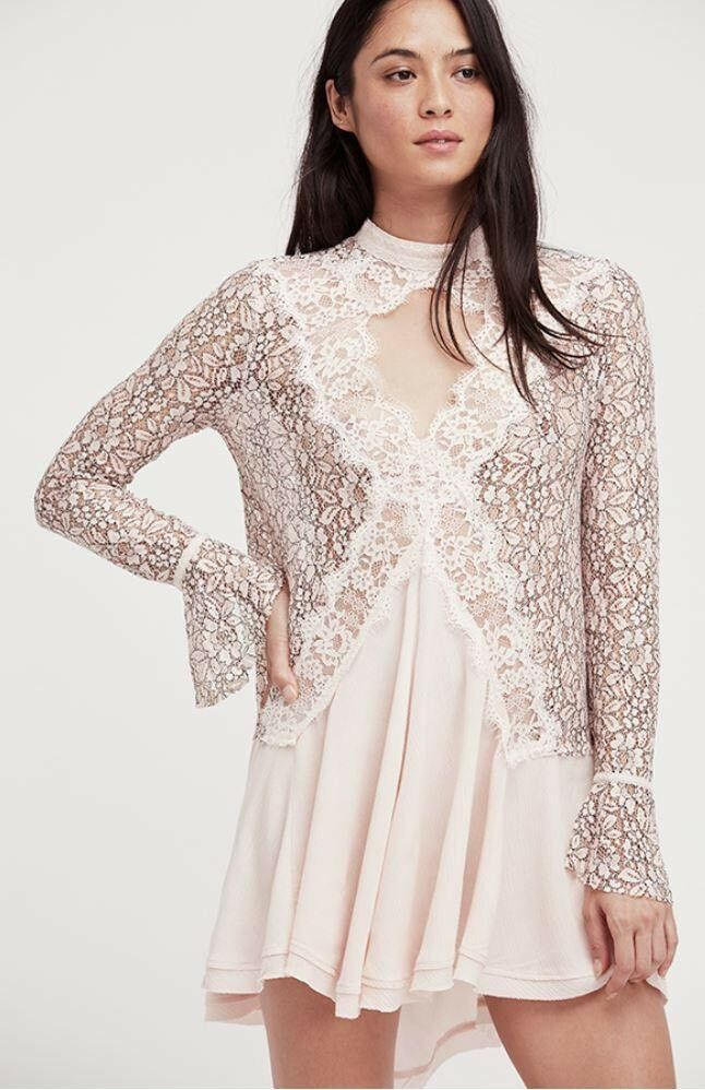 NWT Free People tell tale lace Tunic Retail Größe S Pearl