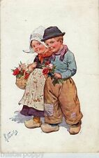 FEIERTAG Boy & Girl Red Roses Bambini Olandesini Fiori Rose PC Viaggiata 1914