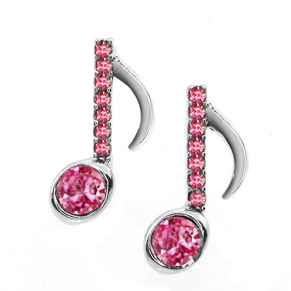 Beautiful Silver and Pink Color Music Note with Pink Crystals Earring Studs