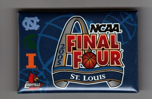 """Car Louisville Ill. St. N 2005 NCAA Final Four 3/"""" x 2/"""" Pinback Button..Mich"""