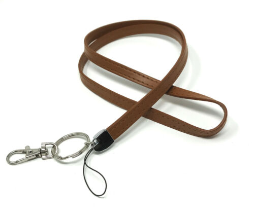 Deluxe Durable PU Leather Neck LANYARDs with Rings Keychain Key fob for Camera